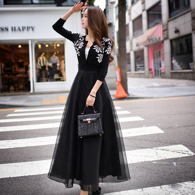 Original 2016 Brand Saias Maxi Spring Autumn Lolita Plus Size High Waist Fashion Elegant Black Long Skirts Women Wholesale