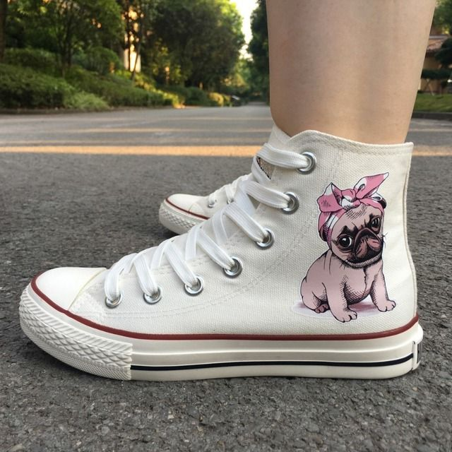 Wen Skateboarding Shoes Design Cute Pet Dog Pug Pink Bow With Headband High Top Women White Canvas Girls Sneakers Plimsolls