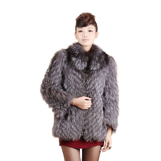 Hot Sale New Spring Women Genuine Silver Fox Fur Coats Jackets Natural Fur Waistcoats Women's Fur Fashion Striped Style