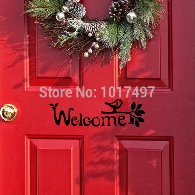 Welcome Sign Wall Sticker Front Door decorative Vinyl Art Decals For Modern Home Decor Free Shipping