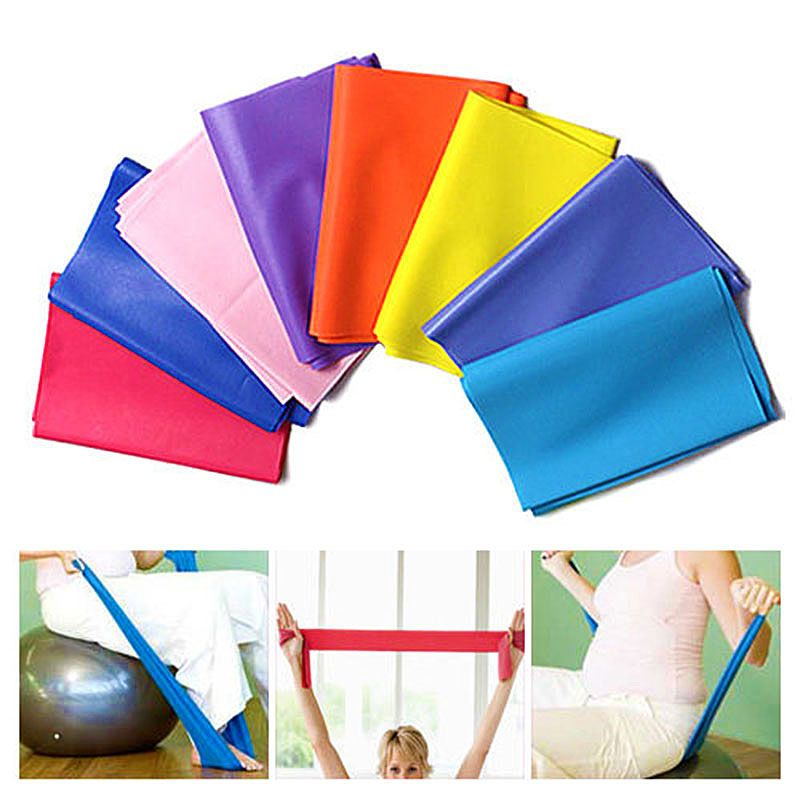 1.5m Yoga Pilates Stretch Workout Resistance Bands Exercise Fitness Band Training Elastic Exercise Fitness Rubber Free Shipping