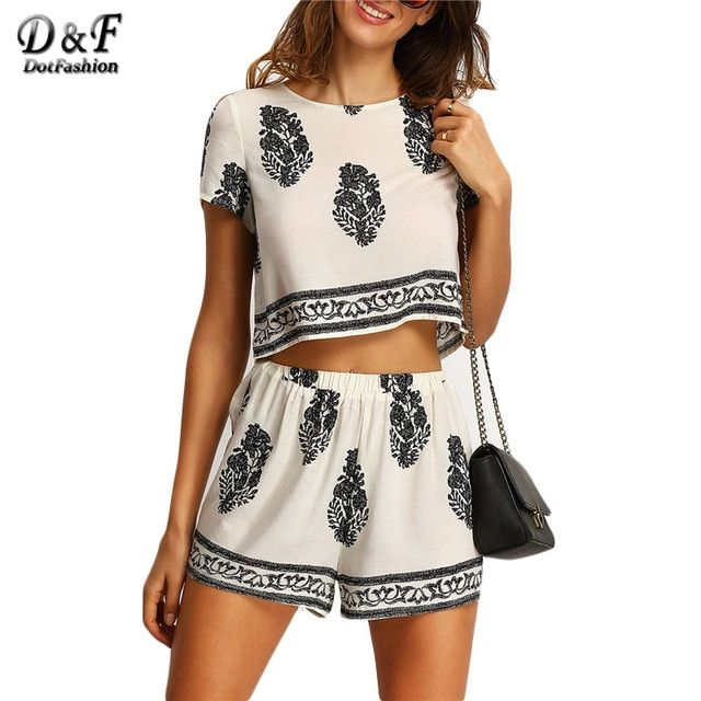 Dotfashion 2 Pieces Female 2016 Summer Hot Sale Short Sleeve Leaves Print Crew Neck Crop Top With Elastic Waist Shorts Suits