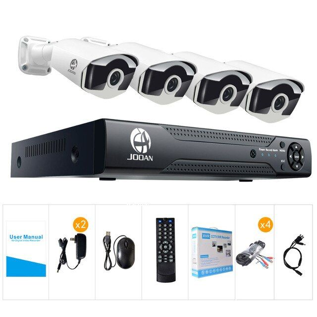 JOOAN H.265 CCTV System POE NVR kit 4ch 4MP waterproof POE IP camera bullet Home Security camera system outdoor low lux onvif