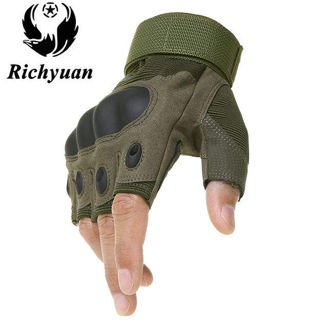 Richyuan Tactical Gloves Military Army Paintball Airsoft Shooting Police Carbon Hard Knuckle Half Finger Gloves Combat Luva