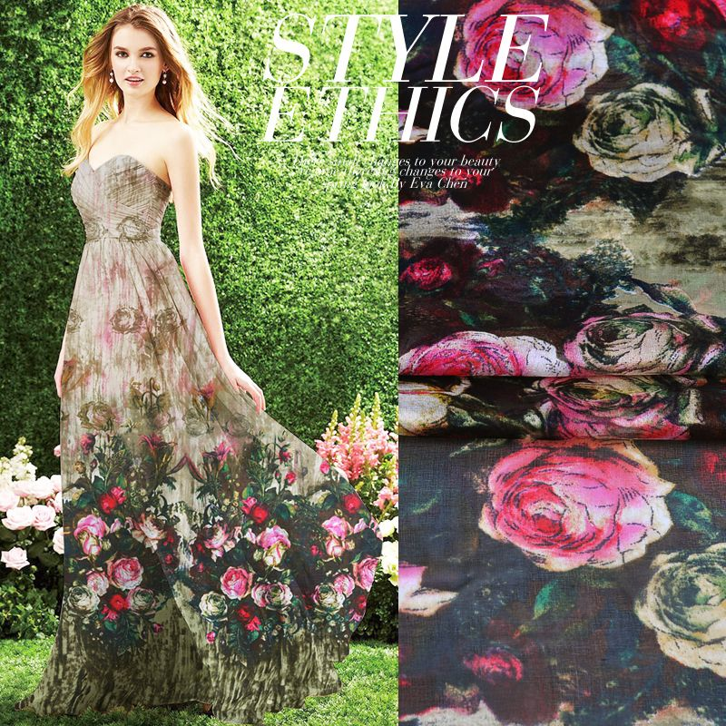 Classic Rose Printed Silk Chiffon Fabric for silk dress Pure Silk Fabric HLC148