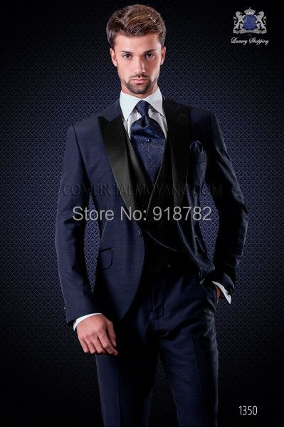 2016 New Groom Tuxedos Navy Blue Mens Prom Suits Wedding Suit For Men Best Man Tuxedos Peaked Lapel Costume Homme 3 Pieces