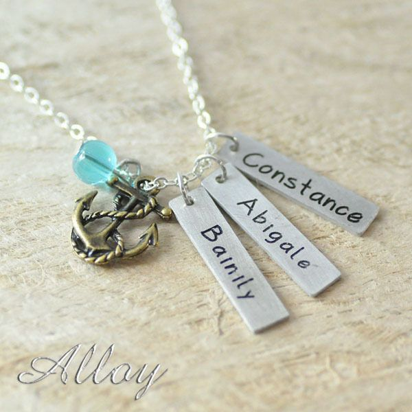 Custom Alloy  necklace colorful bead,3 Hand Stamped long bar Charm & 1 Anchor Pendant necklace BFF necklace,family necklace
