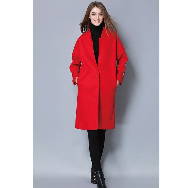 Embroidery Women's Woolen coat Long 2017 Winter V-neck Overcoat Lady Grey Red Manteau Femme Hiver 2017 Big Size XL