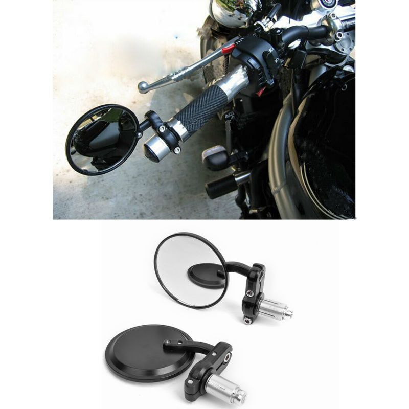 "MOTORCYCLE BLACK 3"" ROUND 7/8"" HANDLE BAR END MIRRORS CAFE RACER BOBBER CLUBMAN"