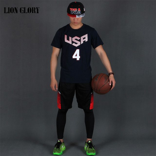 2016 Team USA Brands Men's Baloncesto USA Team Short Seeve T-shirt Breathable Absorbent Cotton Short-sleeved T-shirt MY280