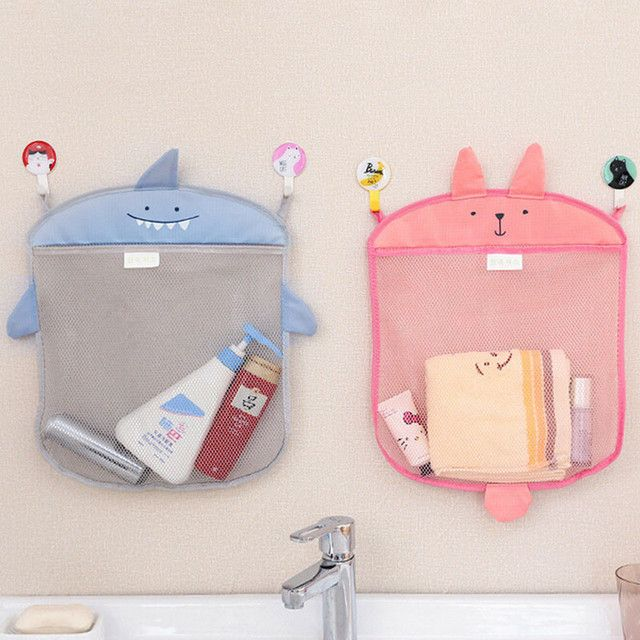 1pc Baby Bathroom Mesh Bag Child Bath Toy Bag Net Suction Cup Baskets