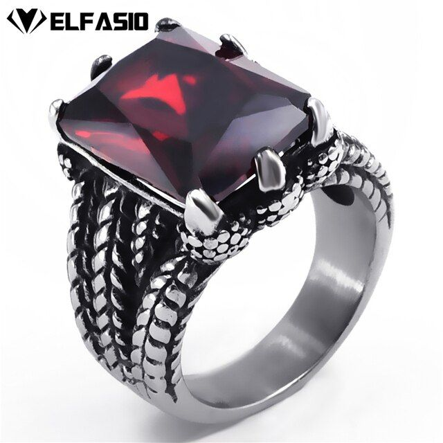 Mens Stainless Steel Ring Silver Dragon Red Cubic Zirconia Biker Jewelry size 8-15