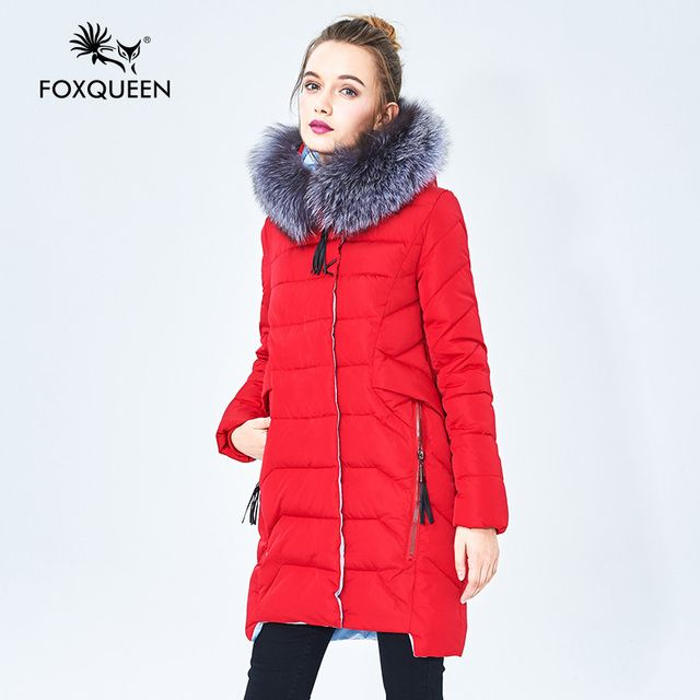 Foxqueen 2017 Warm Winter Fashion Women Thick Cotton Jacket Hooded Coat Parka With Silver Fox Fur Collar Free Shipping 620