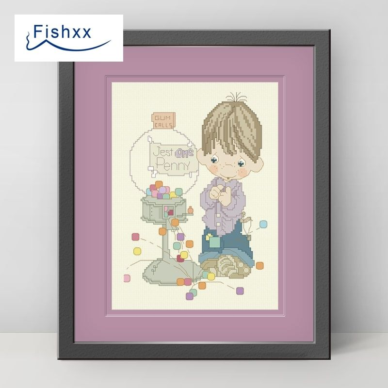 Fishxx Cross Stitch 14CT Kit European Style Children'S Bedroom Paintings H101 Boy With Candy Machine DIY Embroidery