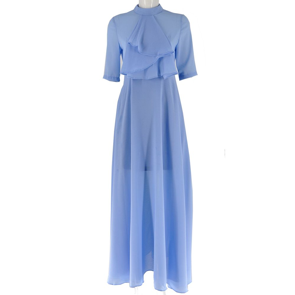 New Good Quality Elegant A Line Dress for Women 2XL Plus Size Ankle Length Lady Gowns White Blue Female Slim Vintage Dresses