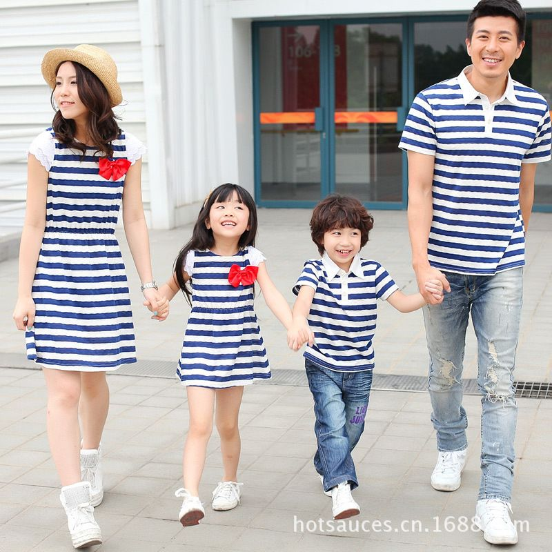2019 summer family matching clothes mother daughter dresses striped mommy and me dress father and baby son t shirt clothes