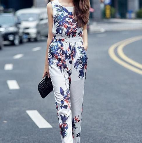 New 2016 jumpsuit women long Rompers Fashion casual retro print Rompers pant