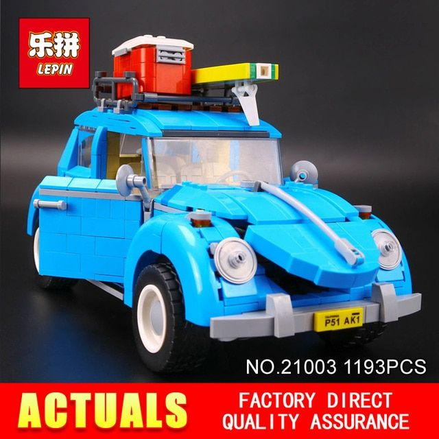 New LEPIN 21003 1193Pcs Creator Series City Car Beetle model Building  Blocks Compatible 10252  Blue Technic children toy gift