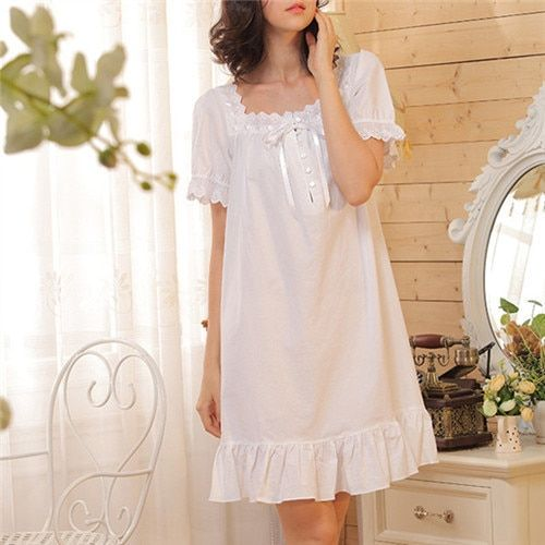 2017 Brand Sleep Lounge Women Sleepwear Cotton Nightgowns Sexy Indoor Clothing Home Dress White Nightdress Plus Size