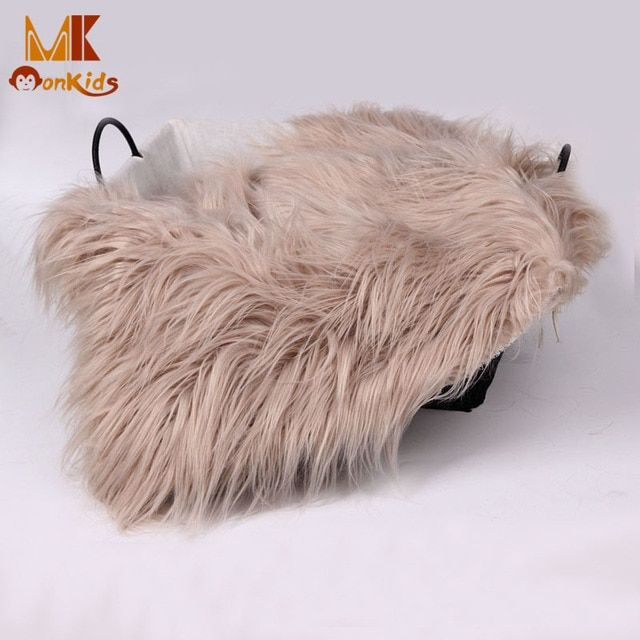 Monkids 2016 Baby Swaddle Soft Handle Blanket Newborn Photography Props Basket Faux Fur Blanket Wool Mat Background Carpet