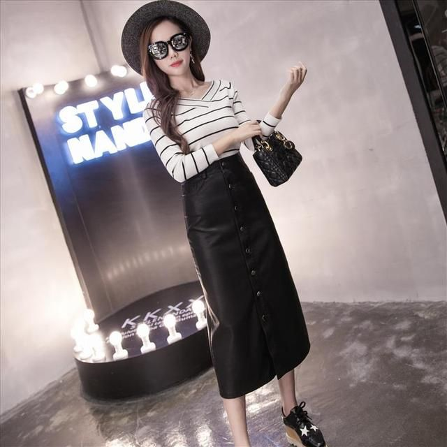 2016 elegant single breasted skirt stepwater wash PU plus size high waist  bust skirt long women leather skirt