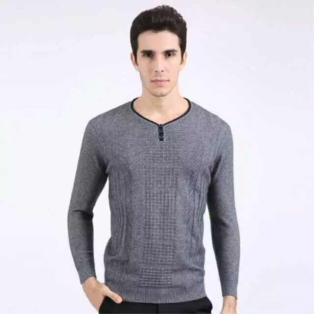 Spring And Autumn Male Basic Long Sleeve Sweater Men's Solid Sweater