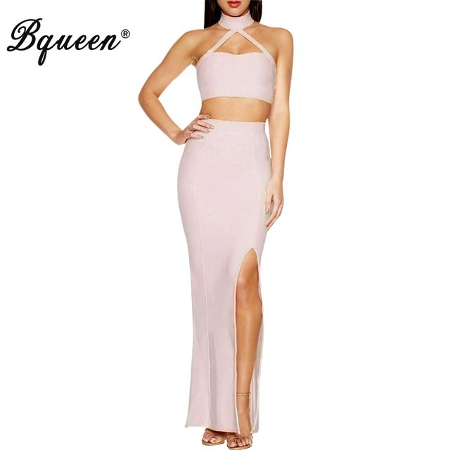 Bqueen 2017 New Solid White Strapless High Split  Spaghetti Strap Bandage Dress 2 Pieces Set