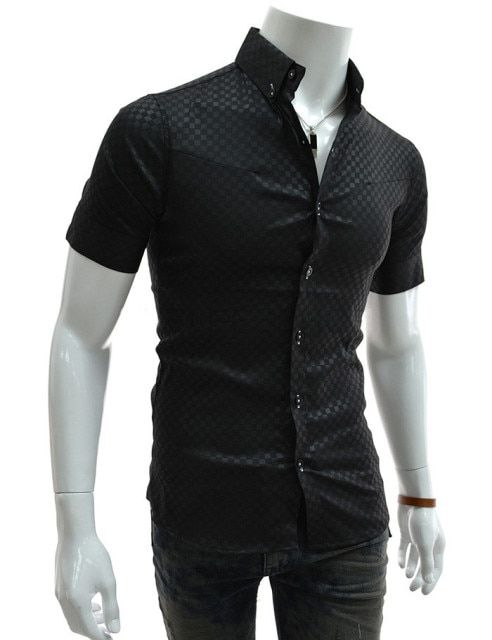 Brand New Men's Casual Shirt Social Convert Plaid Shirt Short Sleeve Turn Down Collar