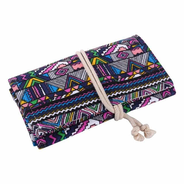 36/48/72 Holes Canvas Wrap Roll Up Pencil Case Pen Bag Holder Storage Stationery Roll-up Bag Pouch