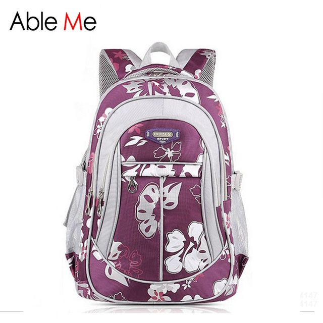 AbleMe New Floral Printing Children Backpack For Girls Mochila Children School Bags For Teenager Girls Book Bags Kids Schoolbag