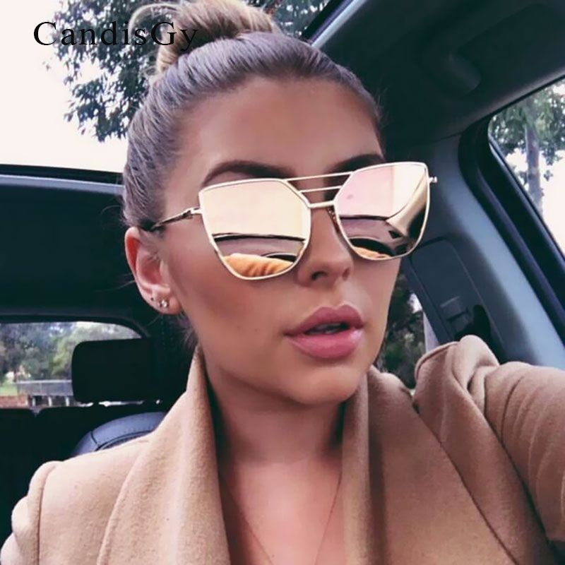 Flat Top Rose Gold Men Women Mirror Sunglasses Fashion Brand Designer Cool Sun Glasses wholesale Female 2019 New YB59