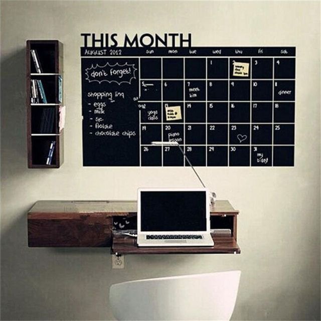 Monthly Chalkboard Chalk Board Blackboard Removable Wall Sticker Month Plan Calendar Memo DIY 60cm X 92cm On Sale