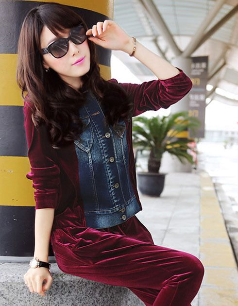 Women's spring and autumn jeans suit European and American style cowboy gold velvet leisure suit female denim suit