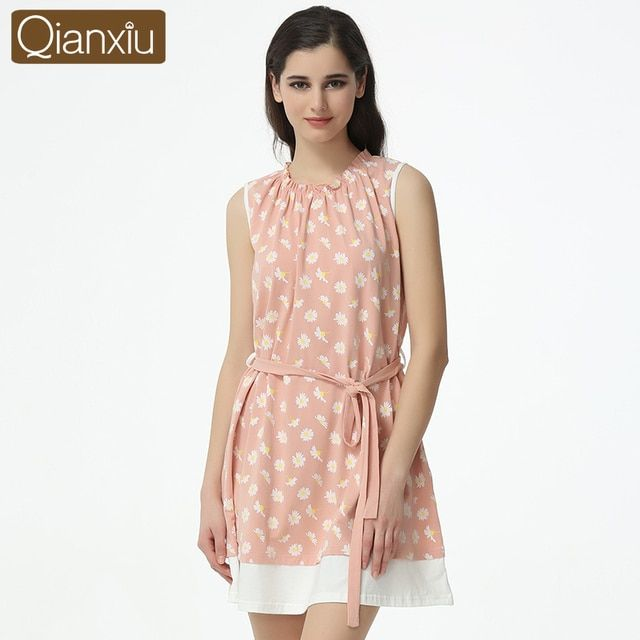 Qianxiu  Sleepskirts For Women  Summer Knee-length Casual Sleepwear  Girl Sleeveless Nightgown