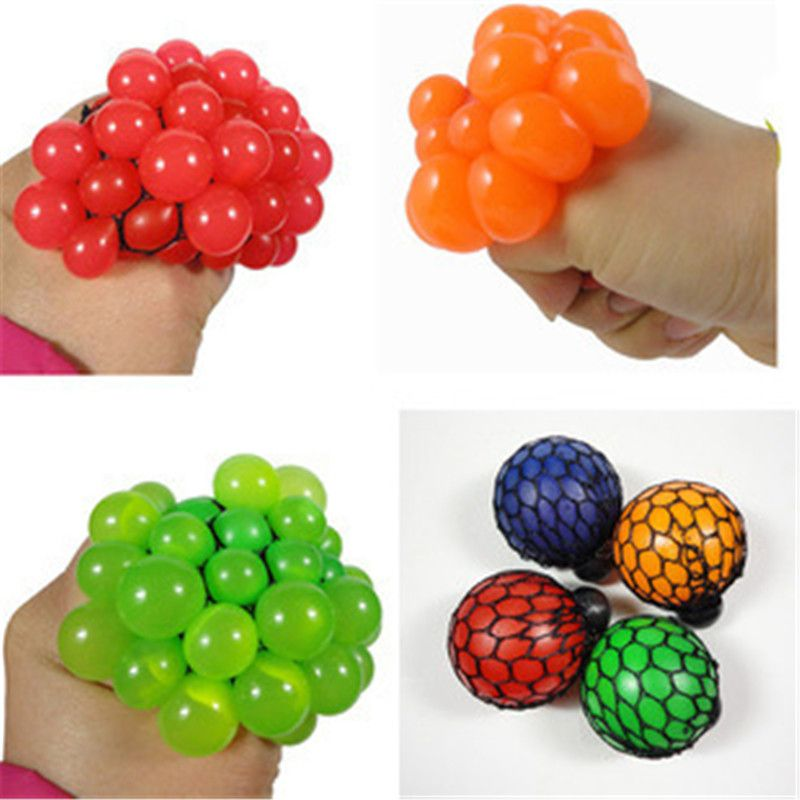 1Pcs Random Color Cute Stop Stress Face Reliever Grape Ball Autism Mood Squeeze Relief Healthy Toy FREE SHIPPING