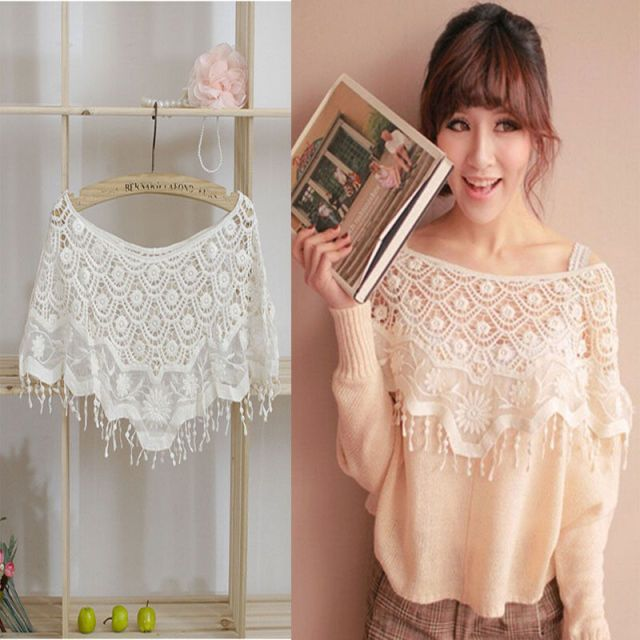2017 Women's Hollow out White Lace Crochet Floral Knit Cape Tank Crop Tops Women Vest Pullover Shawl Batwing Sleeve Top T-Shirts
