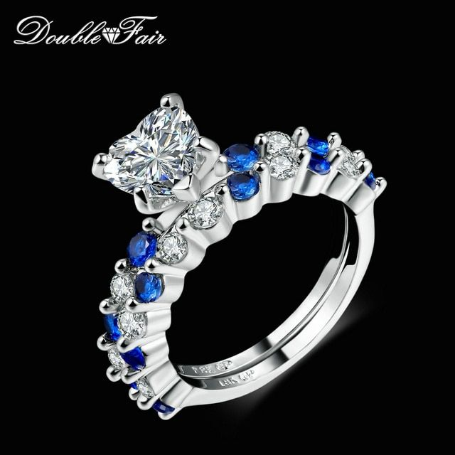 Double Fair Love Heart Cubic Zirconia Rings Sets OL Style Silver Color Wedding Party Blue Crystal Jewelry for Women DFR634