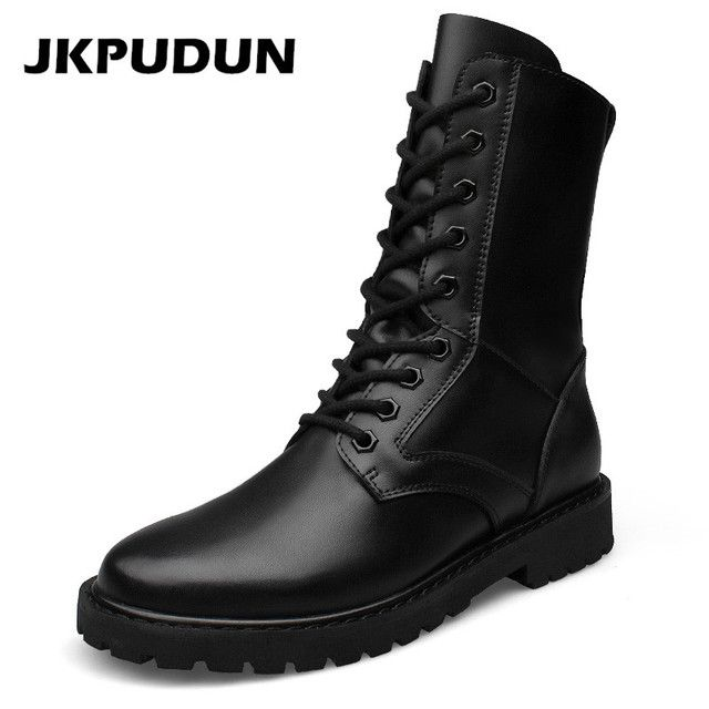 JKPUDUN Military Combat Boots Men Tactical Army Shoes Designer Long Male Hunting Boots Winter Botas Militares Black Askeri Bot