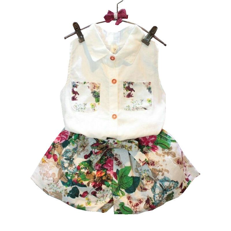 Summer Baby Girls Clothing Set Sleeveless Blouse+ Floral Pants 2pcs/set Kids Cotton Clothes Set 2-8 Years KF990