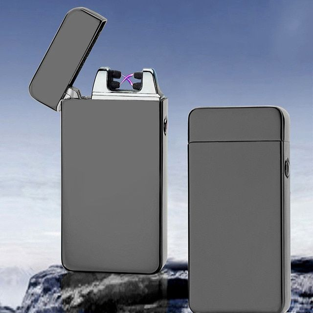 2017 USB Electric Dual Arc Metal Flameless Torch Rechargeable Windproof Lighter for outdoor camping No Gas or Fuel is Required