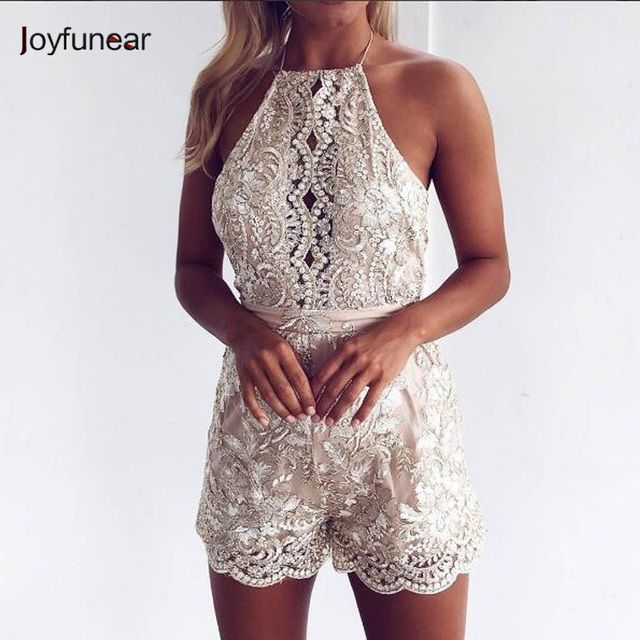 women Gold Line Sequined jumpsuit   New fashion Lady  straps Autumn women  sleeveless Beads  Lace Bandage Playsuits Feminino