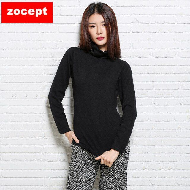 zocept 2016 Women's Autumn Winter Turtleneck Full Sweaters Female Thin Puff Sleeve Warm Solid Cashmere Blend Knitted Pullovers