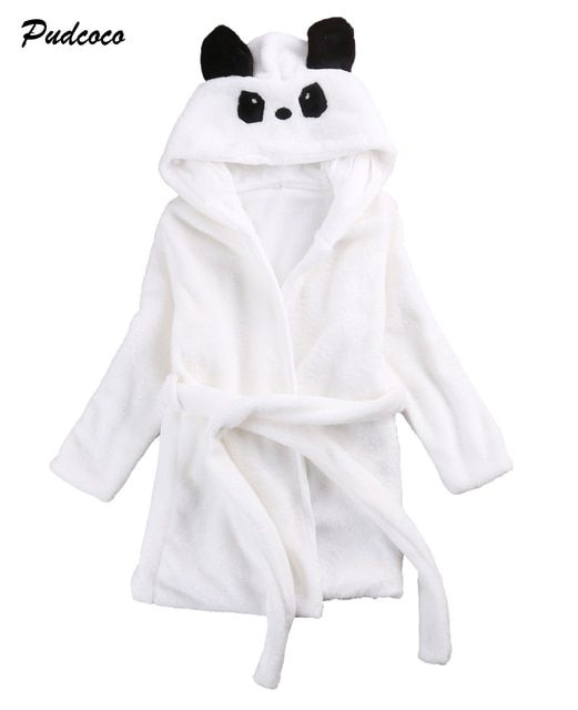 Animal Cartoon Baby Kids Hooded Bathrobe Toddler Boy Girls Sleepwear 0-6Y New Cute Animal Belt Robes