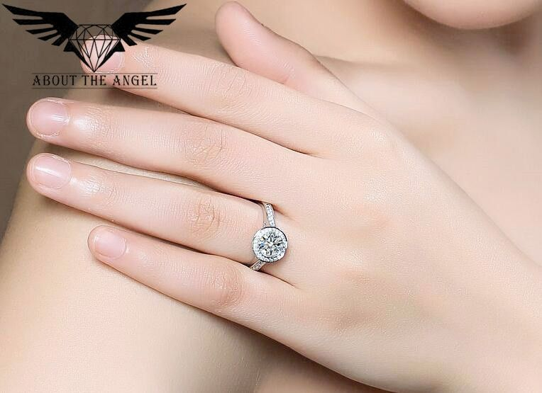 Created Moissanite Diamond Ring 18k White Gold Moissanite Wedding Ring