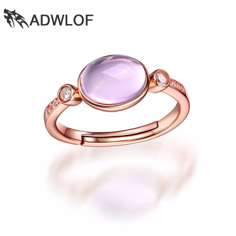 ADWLOF 1.50CT Stunning 8x6mm Oval Natural Rose Quartz Rings 925 Sterling Silver for Women Engagement Fine Jewelry
