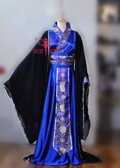 Sapphire Blue Men's Costume Hanfu Tang Suit Cosplay Clothes Ancient Chinese Emperor Clothes for Men Wide Sleeve