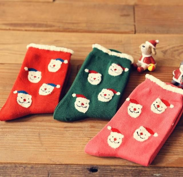 Festival Christmas Bear Socks Creative Vintage Pure Cotton Socks Women Femal Sock Wholesale 5 Pairs/Lot Mix Free Shipping