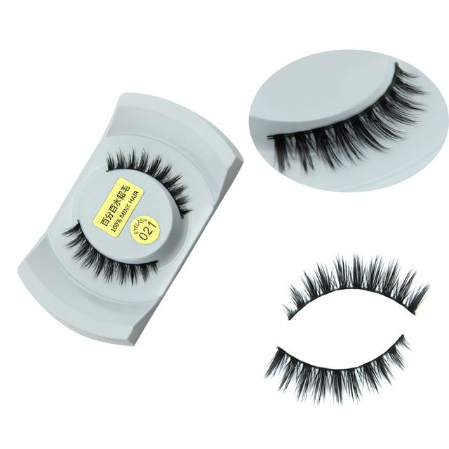 HOT Sale 1 Pair Women Lady Real Black Handmade Natural Mink Hair Long Eye Lashes False Eyelashes