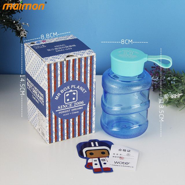 80pcs/lot Wholesale Drinkware Mr Box Outdoor Sports Mini Mineral Clear Plastic Water Drinking Bottle with Retail Packaging 480ml