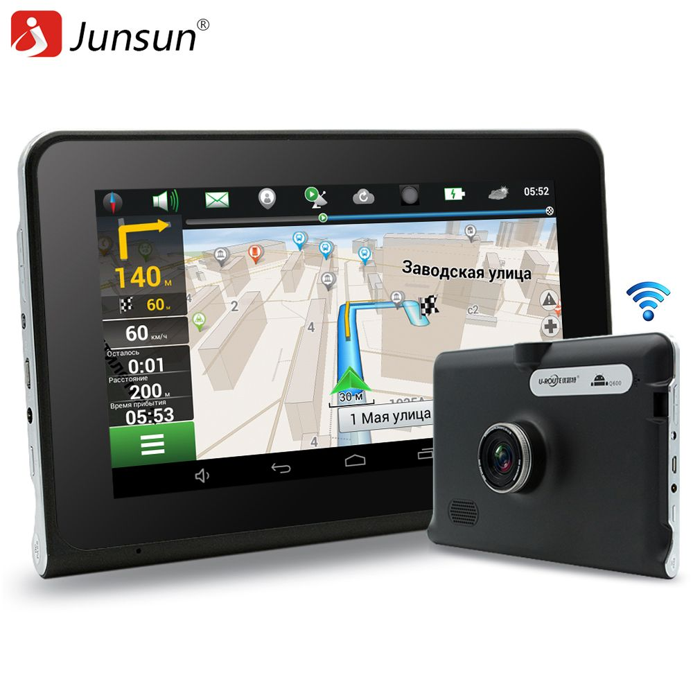 Junsun 7 inch GPS Android Navigation Capacitive Screen Car dvrs Recorder camcorder FM WIFI Truck vehicle gps sat nav Free Map
